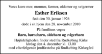 Esther Eriksen, dødsannonce fra afdoede.dk