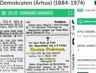 Dødsannonce i Demoraten, 7. marts 1930